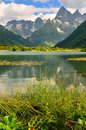 Lake in mountains this is colorful view caucasis summer Stock Photos