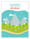 Lake, Mountains, Woods and Campsite or Campground Landscape