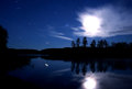 Lake Seliger night: stars clouds moon