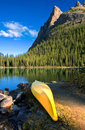 Lake O`Hara canoe Royalty Free Stock Photo