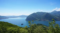 Lake panorama from `Monte Isola`. Italian landscape. Island on lake. View from the island Monte Isola on Lake Iseo, Italy Royalty Free Stock Photo