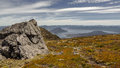 Lake pedder and the fankland ranges jpg from mt eliza tasmania Royalty Free Stock Photography