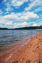 Lake of pierre perce france wonderful view a shore and blue sky with clouds Stock Photo