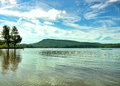 Lake pleasant from speculator beach in speculator new york Royalty Free Stock Photo
