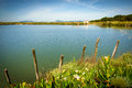 Lake and poles beautiful countryside landscape with a wooden Stock Photos