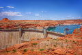 Lake Powell and Glen Canyon Dam in the Desert of Arizona,United States Royalty Free Stock Photo