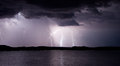 Lake powell lightning storm at bullfrog marina Royalty Free Stock Photo
