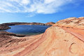 The Lake Powell photographed by Fisheye lens Stock Image