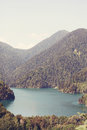 Lake Ritsa and the Caucasus mountains in Abkhazia Royalty Free Stock Photo