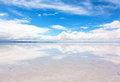 Lake salar de uyuni with a thin layer of water panorama the reflecting surface the bolivia Stock Photography