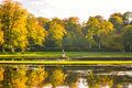 Lake scene fountains abbey taken at Stock Images