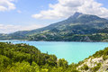 Lake of serre poncon french alps near embrun hautes alpes provence alpes cote d azur france at summer Royalty Free Stock Photos