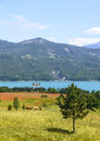 Lake of serre poncon french alps near embrun hautes alpes provence alpes cote d azur france at summer Stock Photo