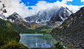 Lake shavlinskoe mountains of altai top view of the snowy peaks Royalty Free Stock Image