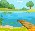 Lake shore cartoon background vector illustration eps Stock Photos