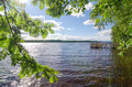 Lake shore summer landscape finland Royalty Free Stock Images