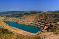 Lake on-site rock quarry Royalty Free Stock Photos