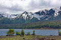 Lake and snow-covered mountains Royalty Free Stock Photo