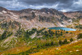 Lake solitude grand tetons as seen from paintbrush divide Royalty Free Stock Photo