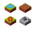 Lake stone flower grass desert icon. Isometric design. Vector gr