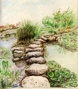 Lake and stone road illustration on paper Royalty Free Stock Photo