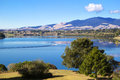 Lake summer landscape karapiro and mount mangatautari ecological island waikato new zealand Stock Photo