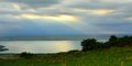 Lake this is sunbeam over evening in caucasus nature Royalty Free Stock Photography