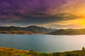 Lake sunset over a mountain in spain Stock Photos