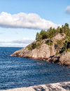 Lake superior beach and cliffs quiet cove with view of rugged on the north shore of Royalty Free Stock Photo
