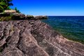 Lake superior blue horizon the waters of meet the gorgeous summer sky at the point abbaye nature sanctuary l anse michigan Stock Image