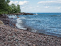 Lake Superior Shore in Lutsen, Minnesota Royalty Free Stock Photo