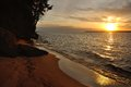 Lake superior sunset over sand island of the apostle islands in wisconsin Stock Images