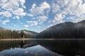 Lake synevyr carpathians clouds spring dawn Royalty Free Stock Photos