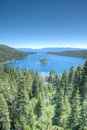 Lake tahoe emerald bay island on a beautiful sunrise on the mountains representing summer vacations Royalty Free Stock Photos