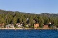 Lake tahoe waterfront homes among the pine trees along the shoreline of nevada usa Royalty Free Stock Photography