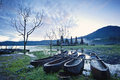 Lake tamblingan bali indonesia the boats of and the hinduism temple Royalty Free Stock Image