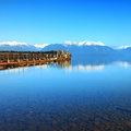 Lake te anau new zealand old jetty at south island Royalty Free Stock Photo