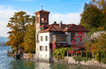 Lake thun oberhofen village on the switzerland Stock Images