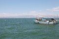 Lake tiberias touristic boat on the at the ein gev kibbutz israel Royalty Free Stock Photo