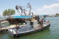 Lake tiberias traditional fisherman boat at the ein gev kibbutz on the israel Stock Photos