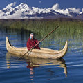 Lake titicaca bolivia traditional urus iruitos reed boat on high in the andes mountains in south america Stock Images