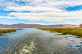 Lake titicaca south america located on border of peru and bolivia it sits m above sea level making it one of the highest Royalty Free Stock Images