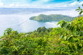 Lake toba indonesia from coffee farm Royalty Free Stock Photo