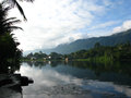 Lake toba morning at in sumatra island indonesia Royalty Free Stock Images