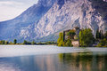 Lake Toblino and Toblino Castle. Trentino, Italy. Stock Images