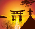 Lake with torii gate and tree Royalty Free Stock Photos