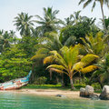 Lake and tropical palms the boat Stock Photography