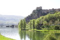 Lake turano view of the of the artificial of castel di tora italy Royalty Free Stock Photography