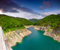 Lake valvestino view from the bridge over the italy alps Royalty Free Stock Photography