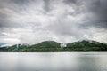 Lake Vidraru on the dam in Carpathian mountains, Romania Royalty Free Stock Photo